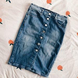 Express Denim Pencil Skirt